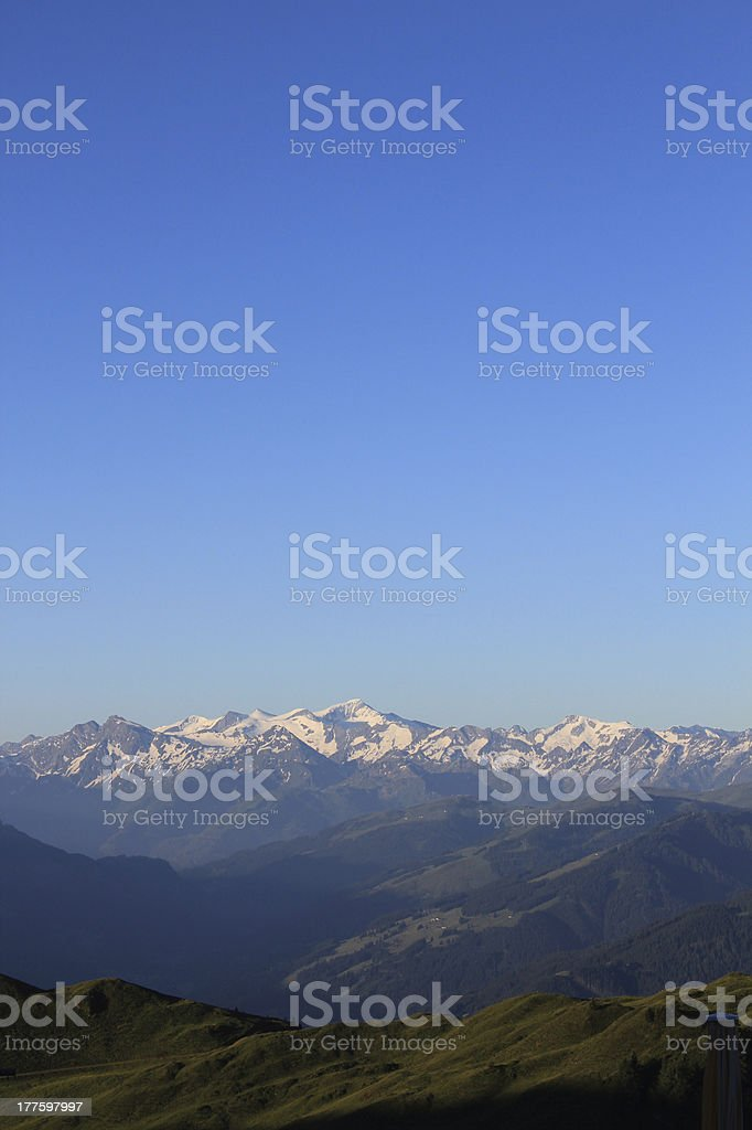 Panoramic mountain view in the alps at sunrise royalty-free stock photo