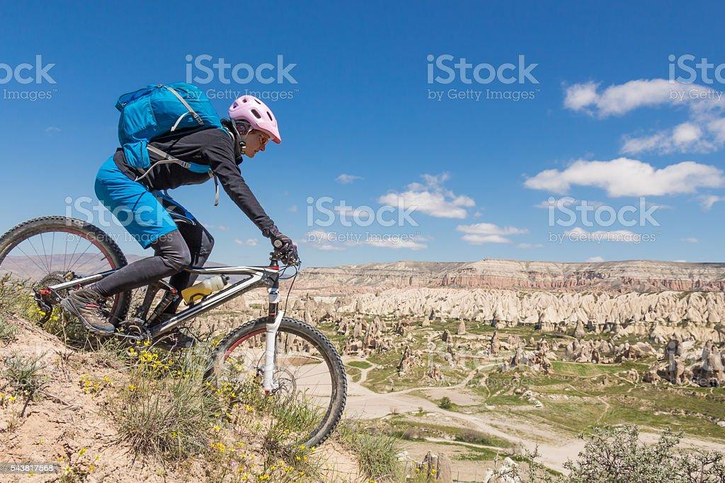 Panoramic mountainbike downhill in Cappadocia, Turkey stock photo