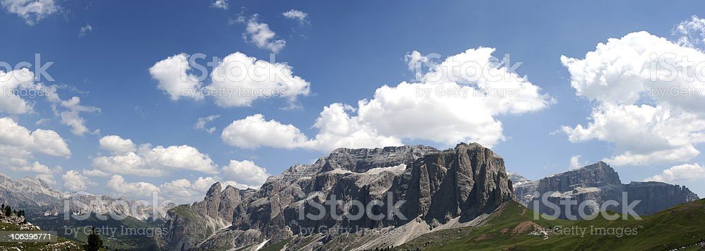 Panoramic Mountains, Dolomites in Val di Fassa, Italy stock photo