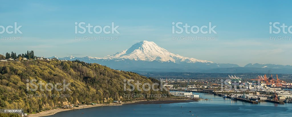 Panoramic Mout Rainier stock photo