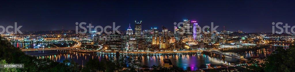 Panoramic Night View of downtown Pittsburgh stock photo