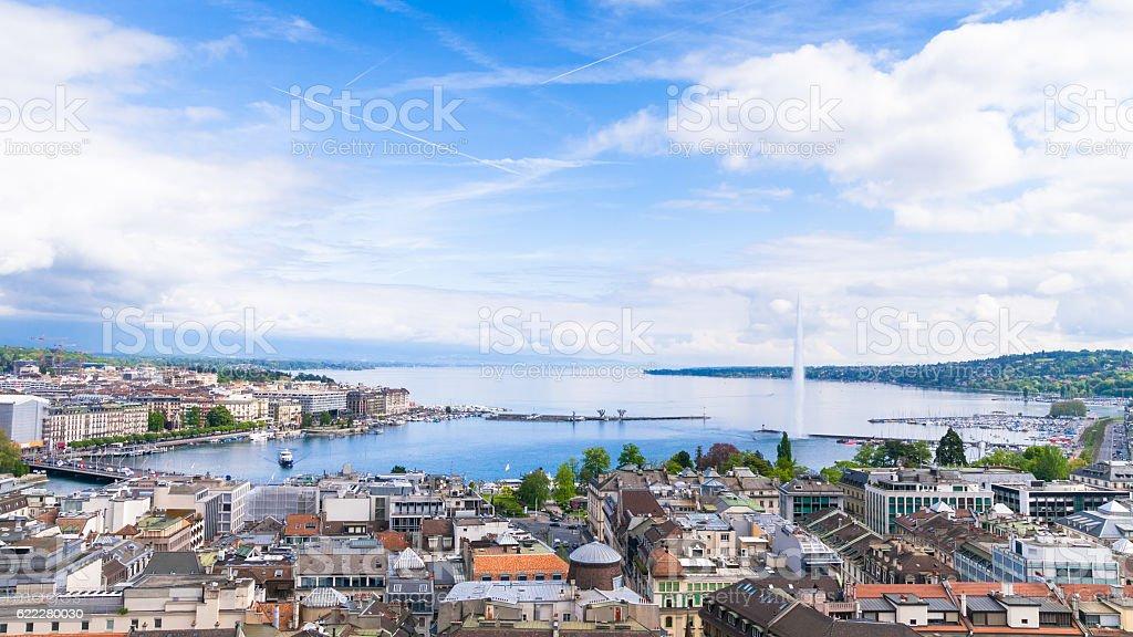 Panoramic night view of the city of Geneva, Lake Geneva stock photo
