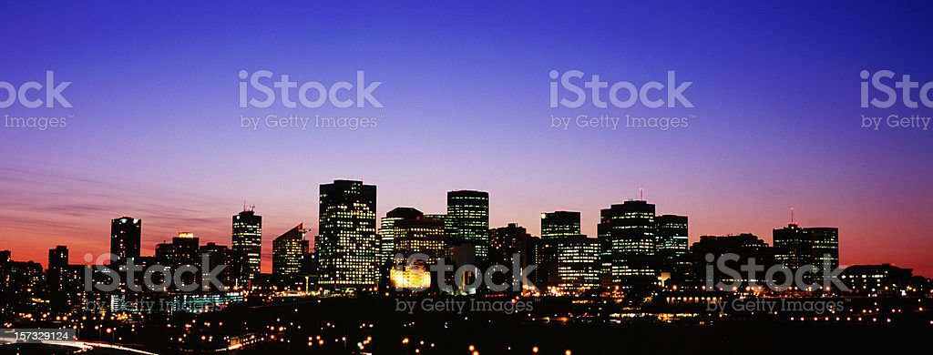 Panoramic nightime Edmonton stock photo