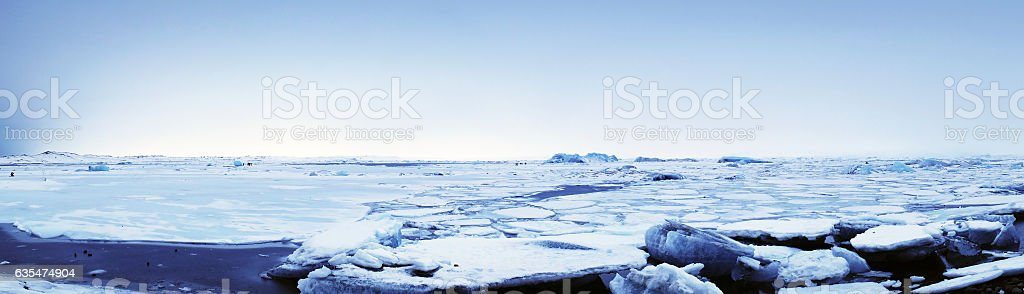 Panoramic of a frozen  Jokulsarlon  lagoon in winter, Iceland stock photo
