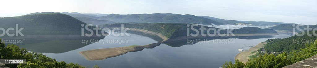 Panoramic of a reservoir (Edersee) from above stock photo
