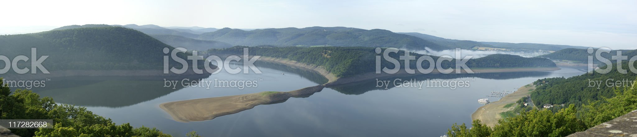 Panoramic of a reservoir (Edersee) from above royalty-free stock photo