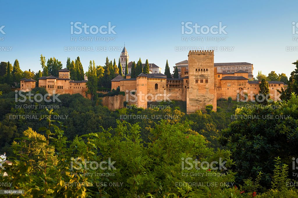 Panoramic of Alhambra de Granada at sunset stock photo