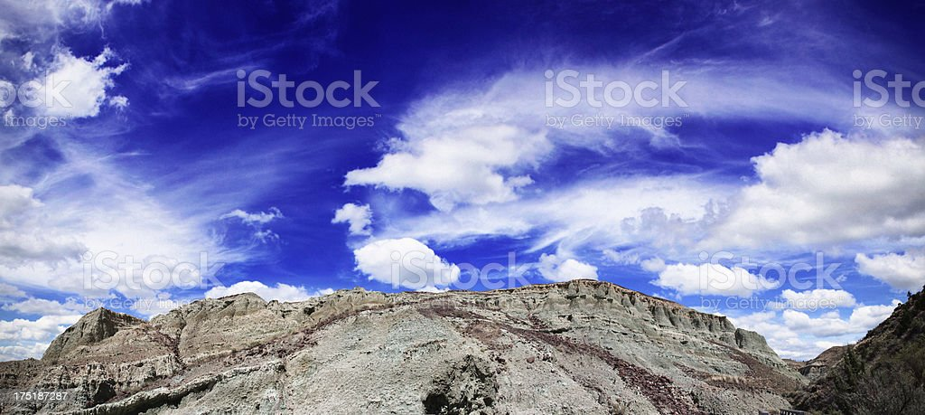 Panoramic of Blue Basin at John Day Fossil Beds stock photo