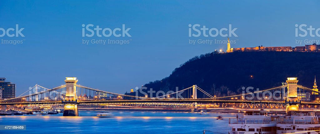 Panoramic of Budapest Chain Bridge Elizabeth Bridge Citadella stock photo