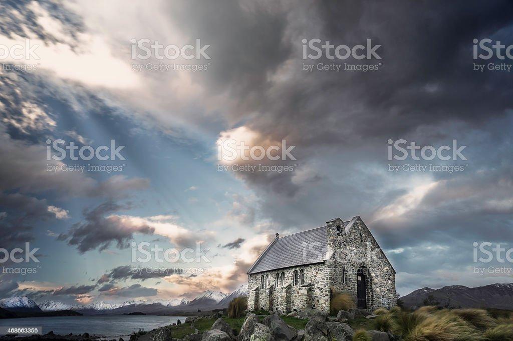 Panoramic of Church of the Good Shepard, Lake Tekapo stock photo