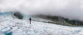 Panoramic of Climber on Franz Josef Glacier in New Zealand