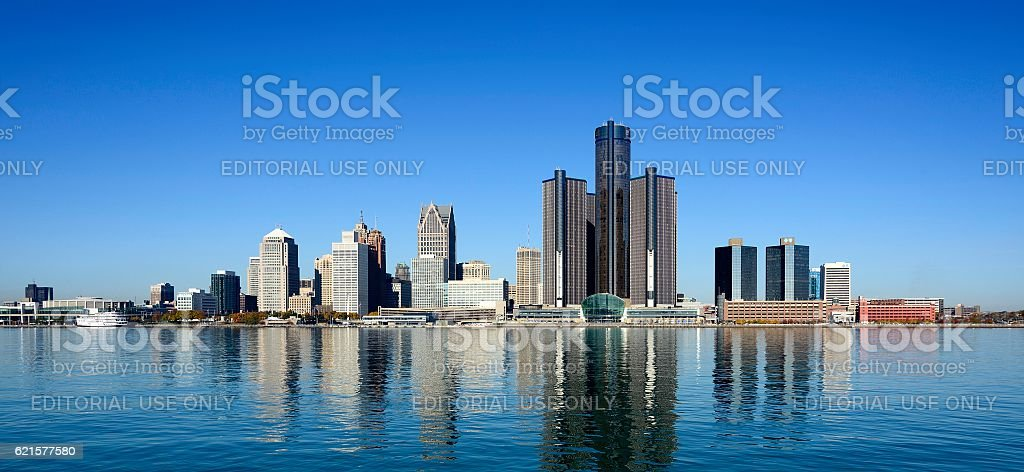 Panoramic of Detroit Skyline as Seen From Windsor Canada stock photo