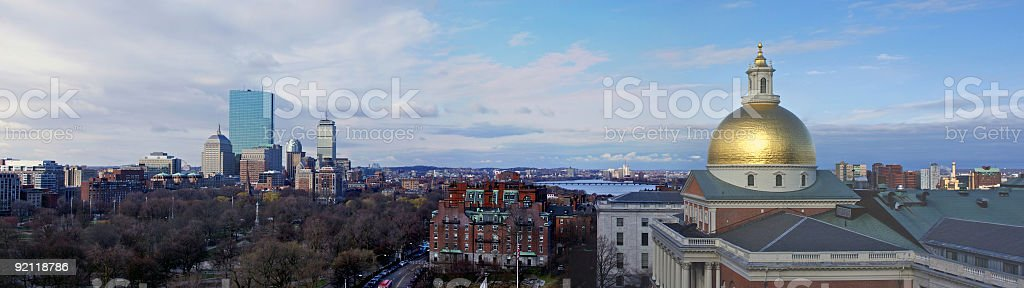 Panoramic of different buildings and cityscape of Boston royalty-free stock photo