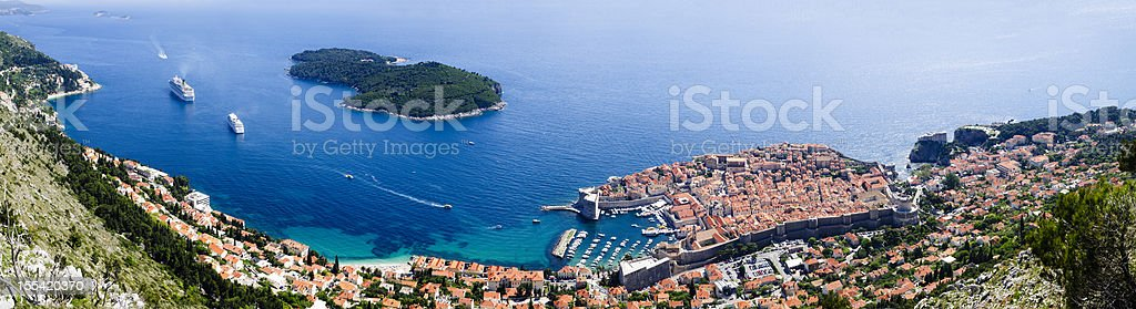 Panoramic of Dubrovnik and Lokrum Island, Croatia stock photo