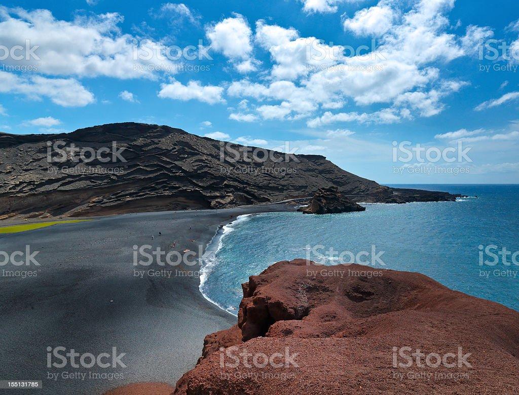 Panoramic of El Golfo, Volcanic beach in Ianzarote stock photo