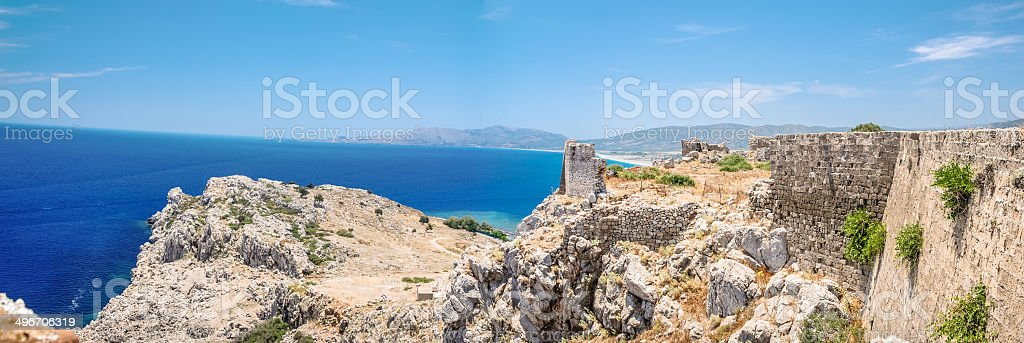Panoramic of Feraklos Castle - Rhodes, Greece royalty-free stock photo