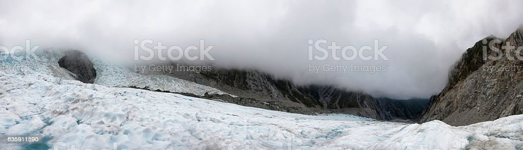 Panoramic of Franz Josef Glacier in New Zealand stock photo