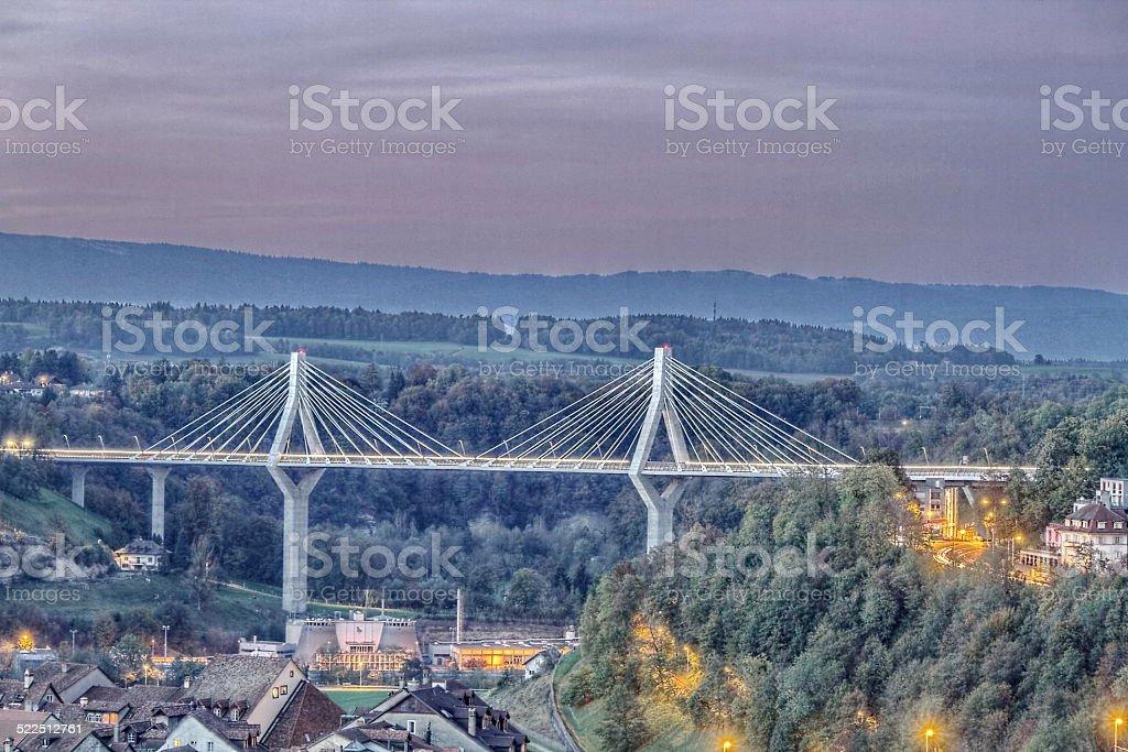 Panoramic of Fribourg, Switzerland stock photo