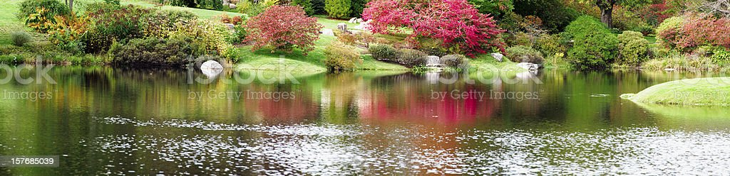 XXXL: Panoramic of Japanese style garden stock photo