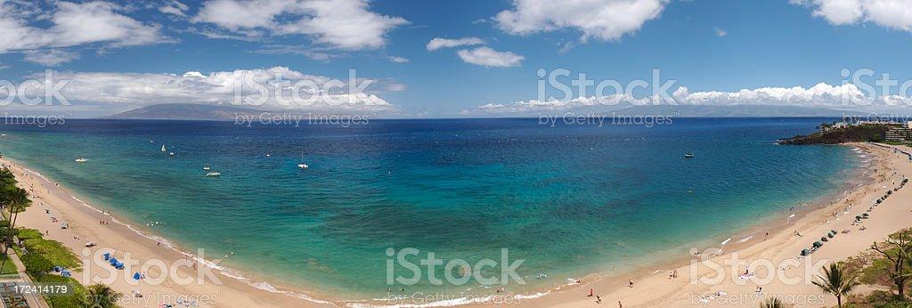 Vue panoramique de la plage de Kaanapali Beach photo libre de droits