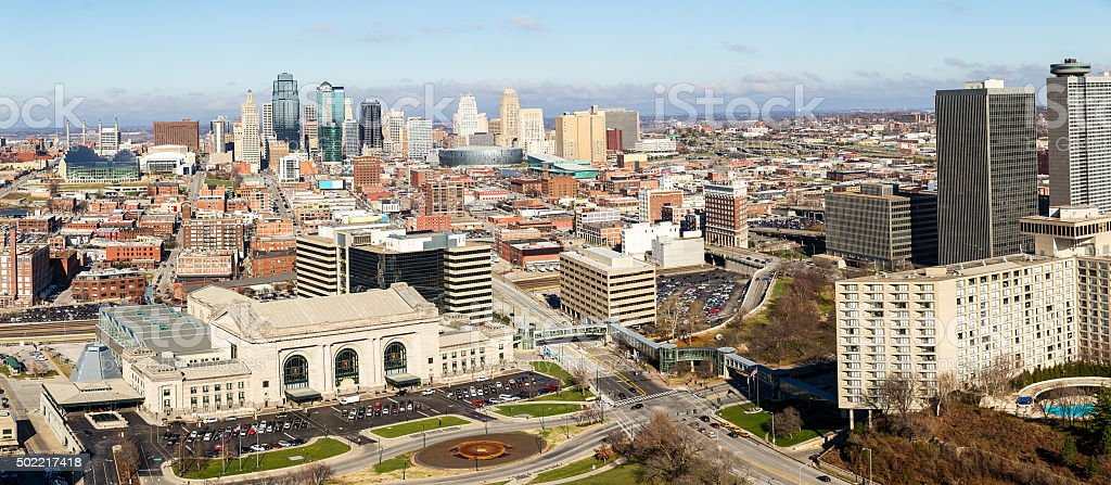 Panoramic of Kansas City stock photo