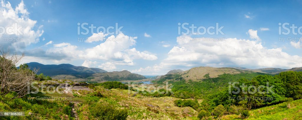 Panoramic of Ladies View on the Ring of Kerry, Ireland stock photo