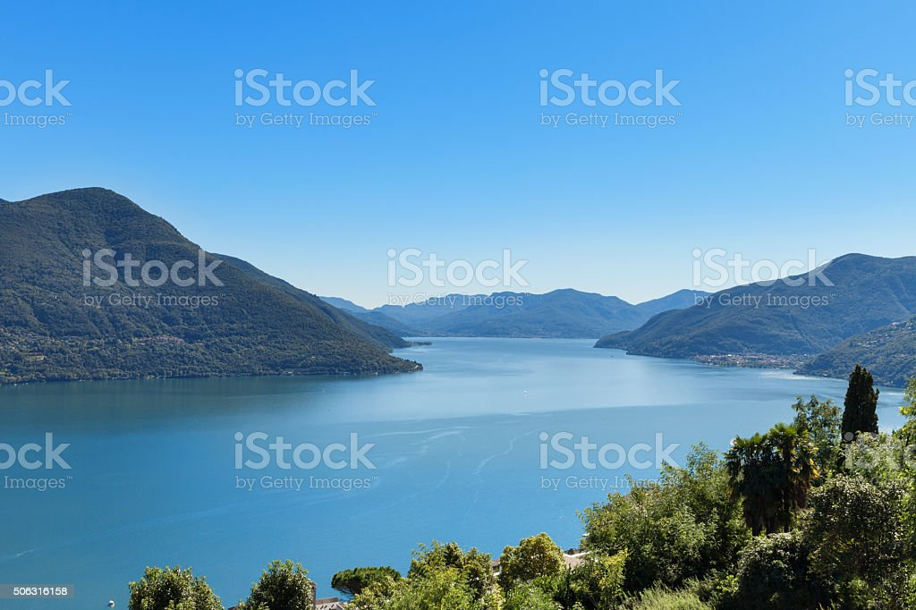 Panoramic of Lake Maggiore stock photo