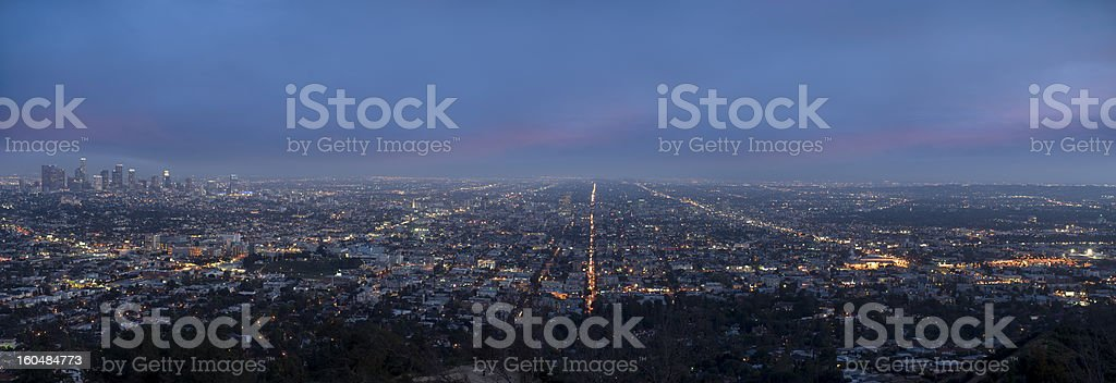 Panoramic of Los Angels Downtown At Night royalty-free stock photo
