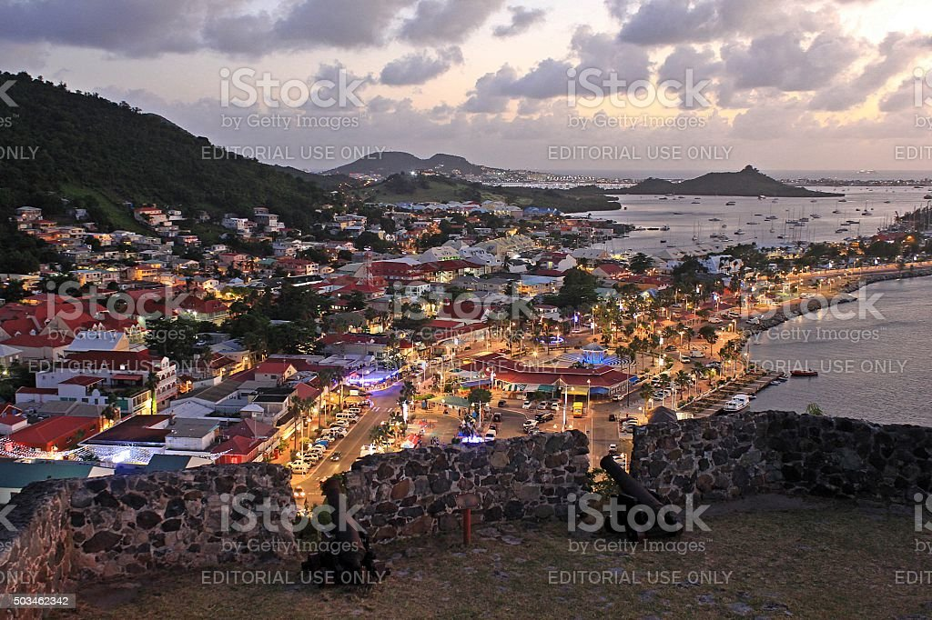 Panoramic of Marigot from Fort St. Louis at dusk stock photo