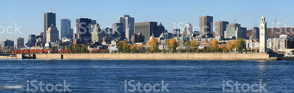 Panoramic of Montreal Cityscape in Summer royalty-free stock photo