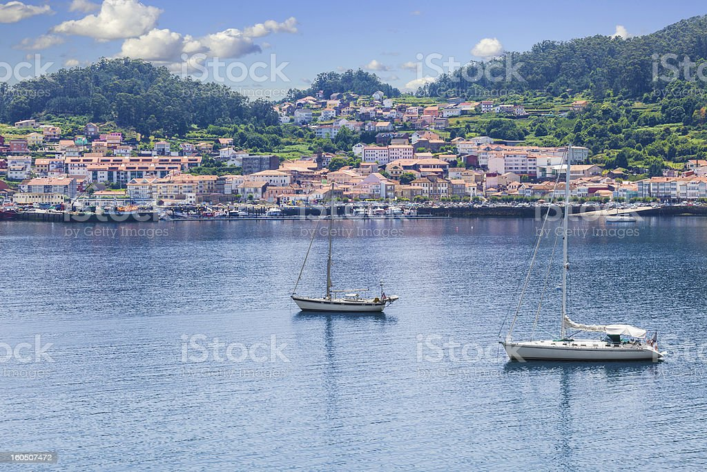 Panoramic of Muros harbor and town stock photo