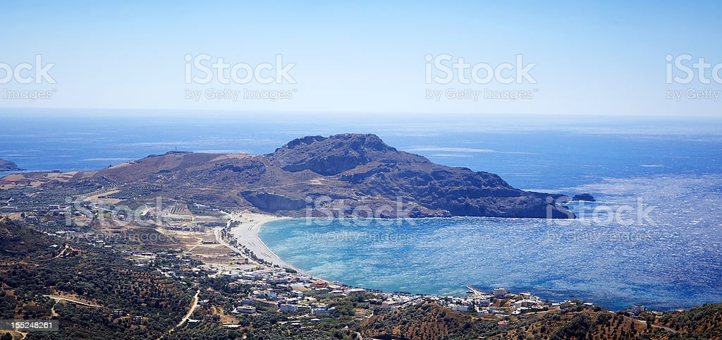 Panoramic of Plakias Bay stock photo
