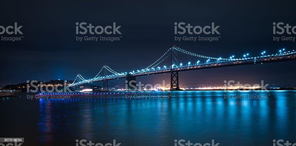Panoramic of San Francisco Bay Bridge stock photo