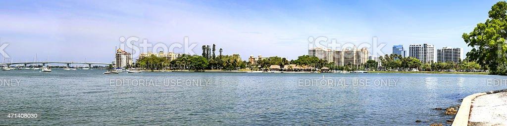 Panoramic of Sarasota stock photo