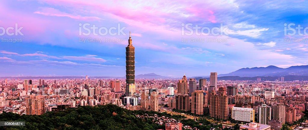 Panoramic of sunrise of Taipei, Taiwan stock photo