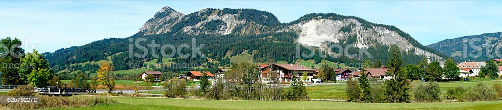 Panoramic of Tannheim Valley in Tyrol, Austria stock photo