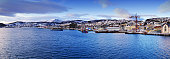 Panoramic of the city and harbor of Harstad in Norway
