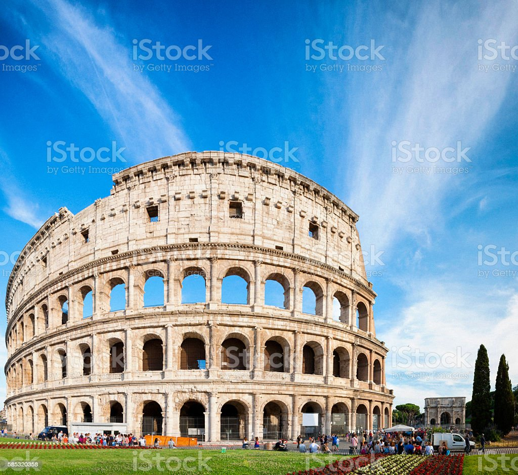 Panoramic of The Colosseum in Rome, Italy stock photo
