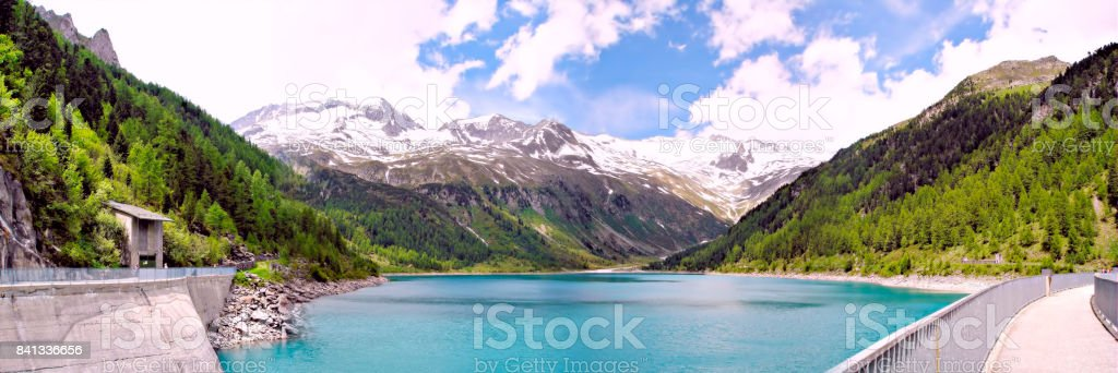 Panoramic of the Neves-Reservoir in South Tyrol stock photo
