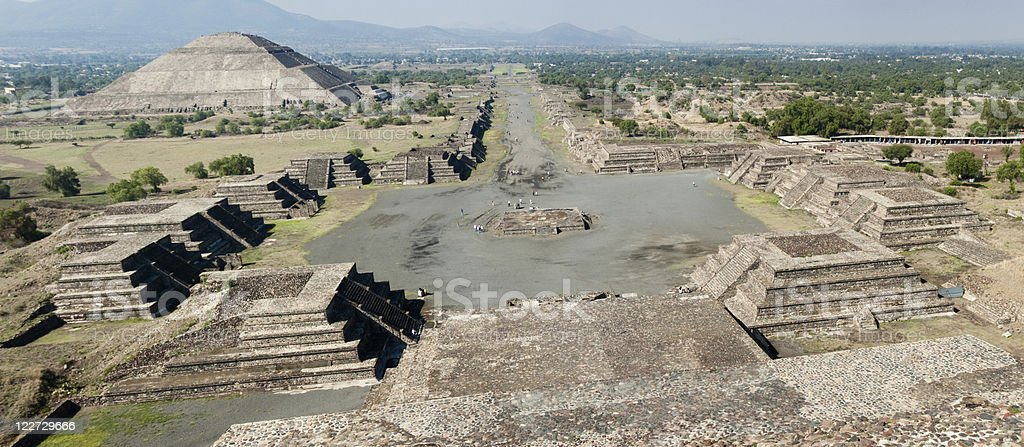 XXL: Panoramic of the Teotihuacan Pyramids in Mexico stock photo