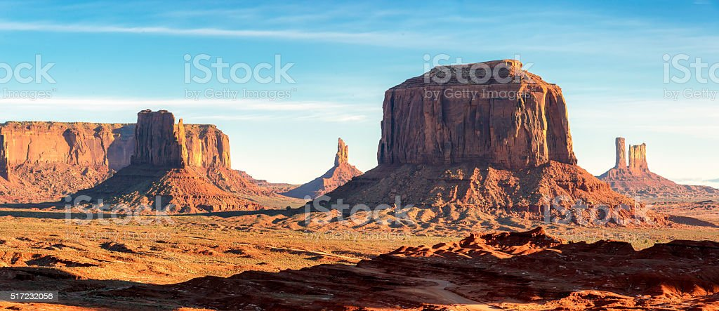 Panoramic of the unique landscape of Monument Valley, Arizona stock photo