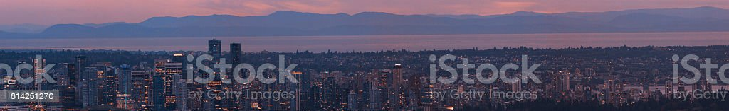 Panoramic of the Vancouver Skyline at Sunset stock photo