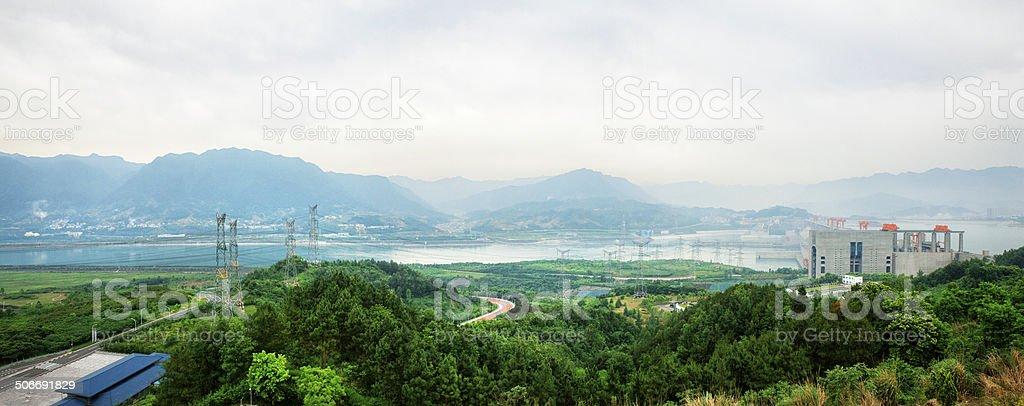 Panoramic of Three Gorges Dam stock photo