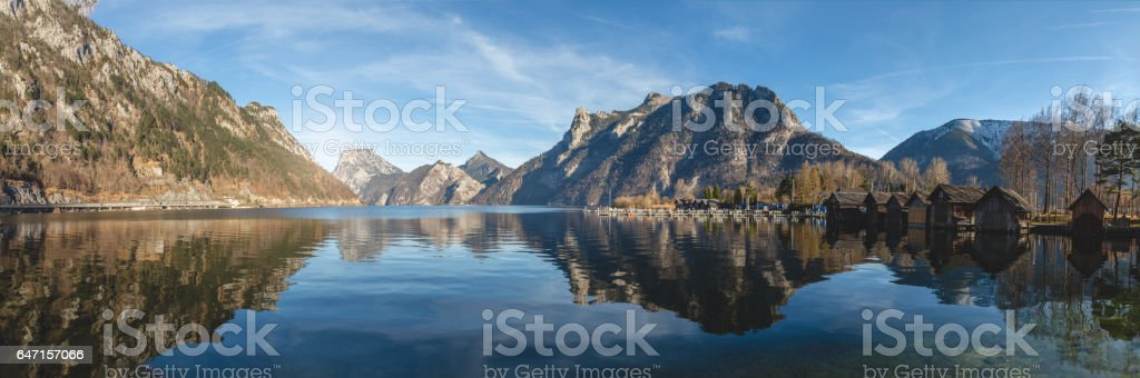 Panoramic of Traunstein mountains and Traunsee lake stock photo