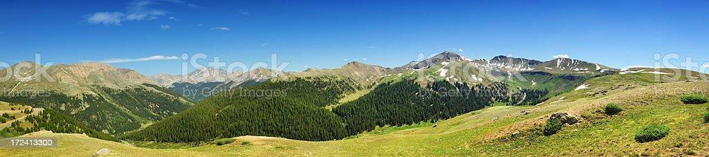 Panoramic of Vail Pass Colorado Rockies stock photo