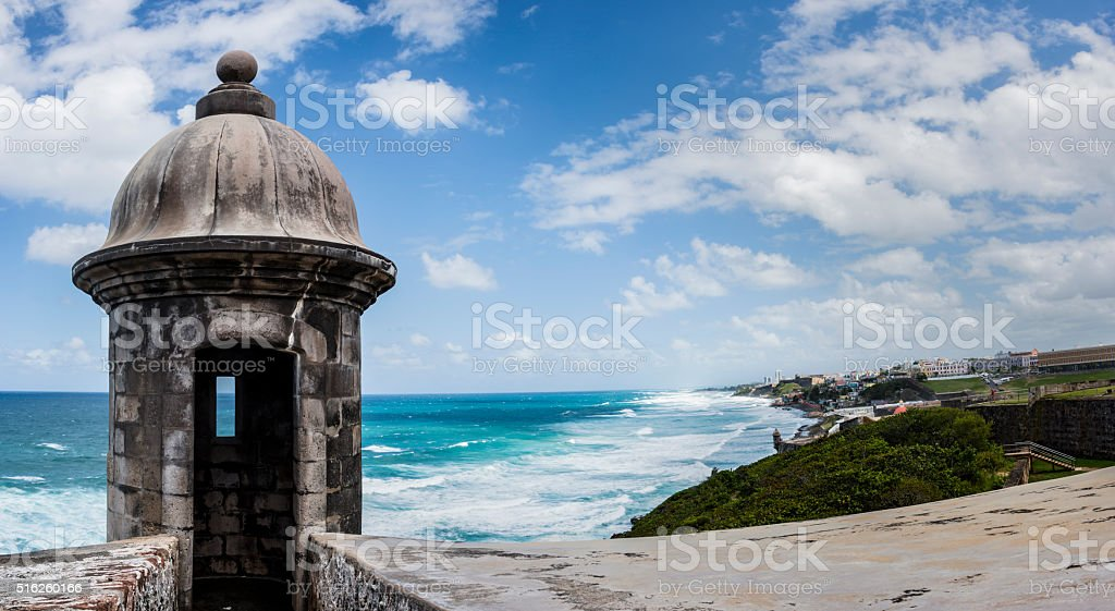 Panoramic of view from Fort San Cristobal, Puerto Rico stock photo