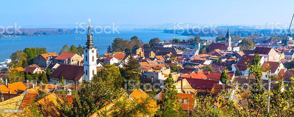 Panoramic of Zemun, with church tower in Belgrade stock photo
