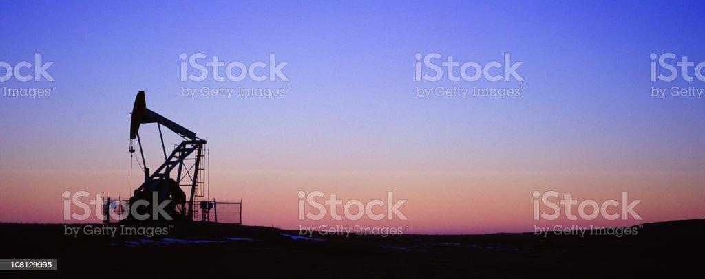Panoramic Oil Pump Jack stock photo