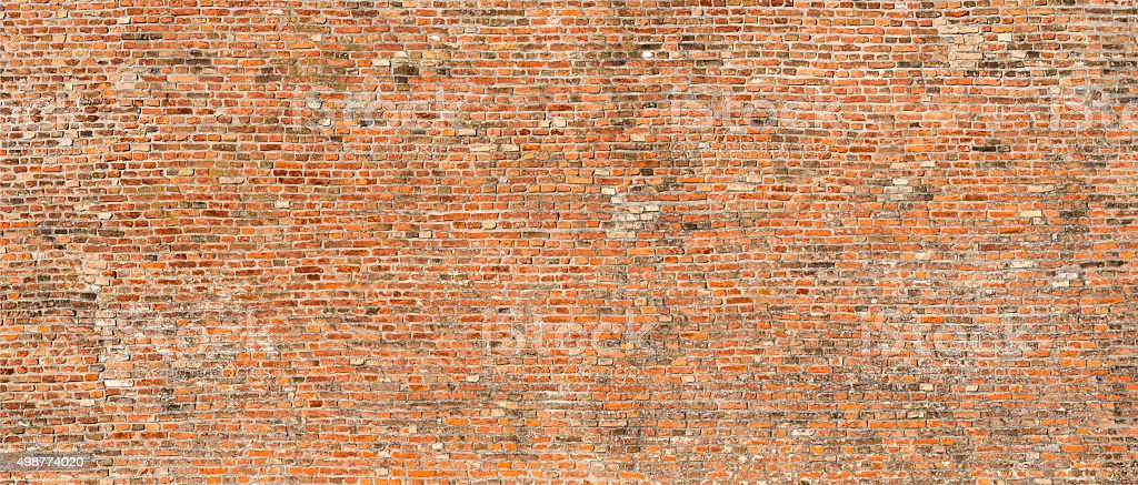Panoramic old brick wall background stock photo