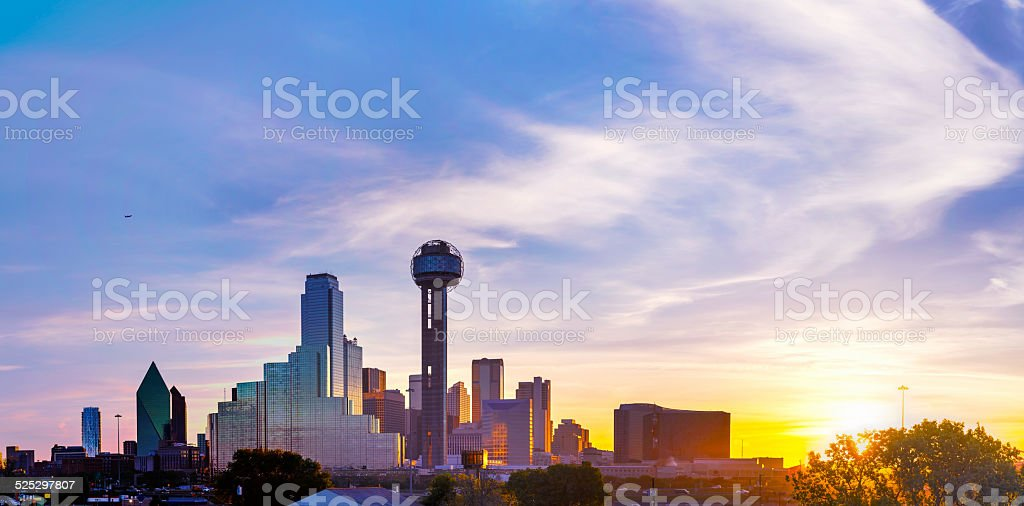 Panoramic overview of downtown Dallas stock photo